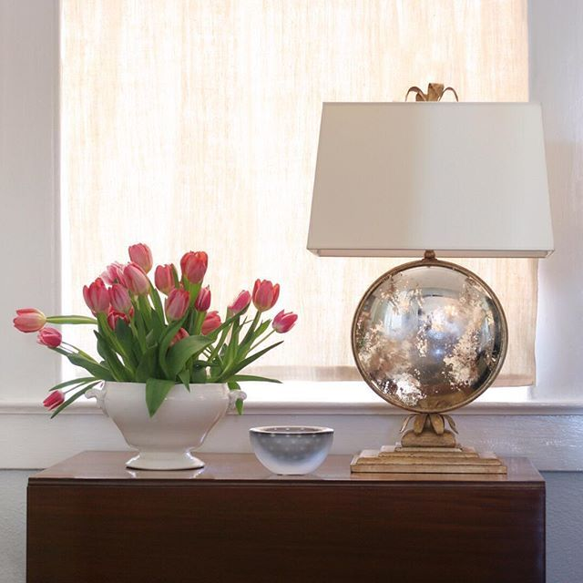 Dreaming of Spring with these beautiful tulips and the gorgeous Gramercy Table Lamp in Mercury glass and gilded iron! ---Brand new from Visual Comfort & Co. and just in to our lighting gallery.  Hawthorne House is open Tuesday - Friday 10 am - 5 pm and by appointment.  @visualcomfortco #visualcomfort #lightingshowroom #decorativelighting #luxurylighting #lightingdesign #hawthornehouselighting #gildediron #mercuryglass