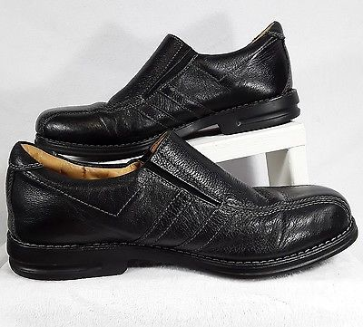 Sandro-Moscoloni-Black-Leather-Loafers-Men-039-s-Size-7-5-Slip-On-Moccasin-Shoes