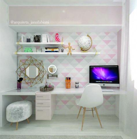Escrivaninha, Quarto de menina, tumblr, quarto tumblr, espaço de maquiagem, qua…