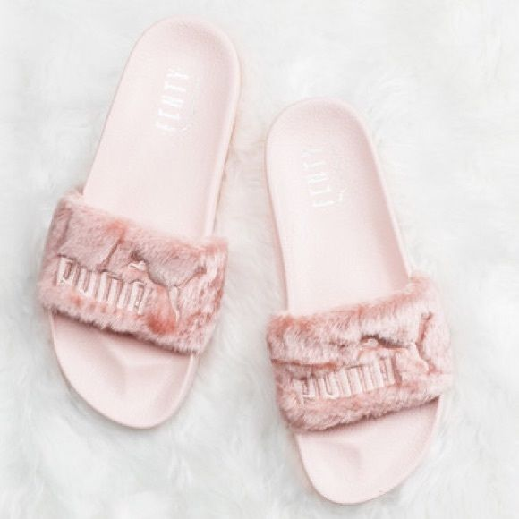 Puma X Rihanna Fenty Fur Slides pink sz 7.5 Brand new, never worn, with box and dust bag. Pink Size 7.5 - runs big - will fit womens size 8-8.5. Puma Shoes Slippers