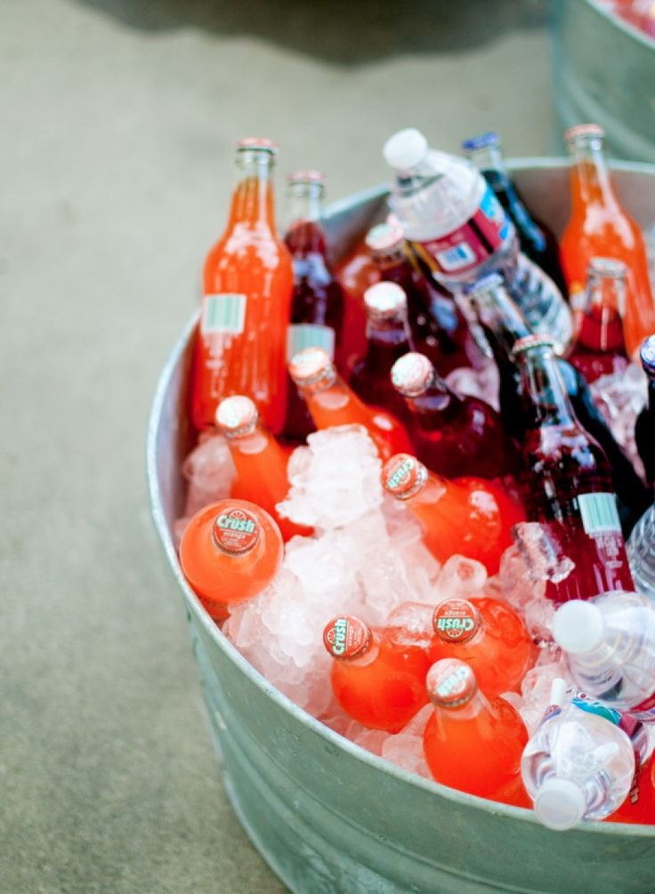 Old fashioned soda cooled in ice for outdoor wedding