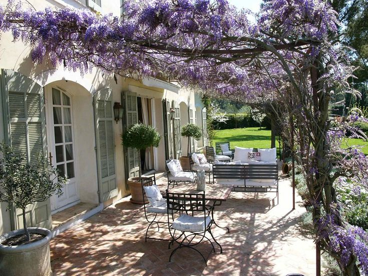 shuttered french doors + wisteria draped patio ... sooo pretty!
