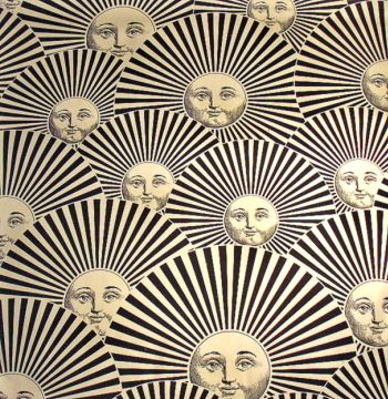 Sun Fan ecru fabric designed by Piero Fornasetti.