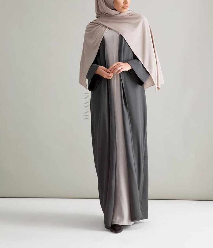 A winter inspired kimono crafted in charcoal grey. A definite wardrobe essential for exuding modern minimalism.  Charcoal Kimono with Turn-Back Cuffs Feather Grey Slip Dress Oatmeal Rayon Blend Jersey Hijab www.inayah.co