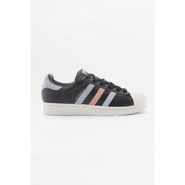 adidas Originals Superstar Black With Blue And Pink Stripes Trainers ($93) ❤ liked on Polyvore featuring shoes, sneakers, black, black lace up sneakers, black leather shoes, adidas originals sneakers, lace up sneakers and blue leather sneakers