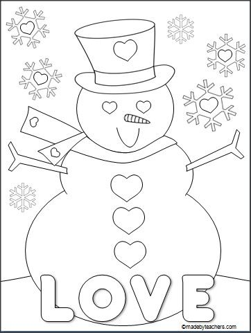 this is a free valentines day snowman coloring page for download on madebyteacherscom - Coloring Packets