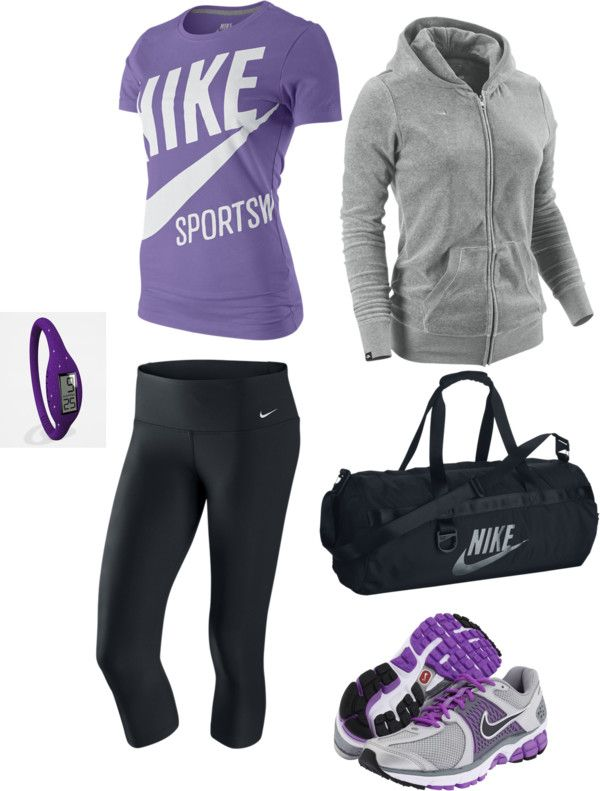 """""""Purle Works Out!"""" grey black life fit clothes outfit cute nike"""