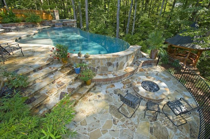 33 Swimming Pool With Jacuzzi Design Examples Small Pool Design Sloped Backyard Backyard Pool Landscaping