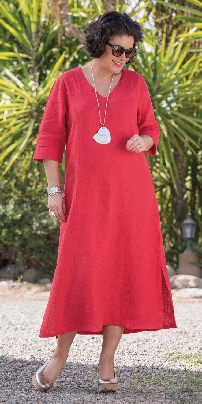 Kasbah red linen pocket dress