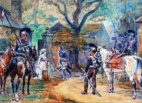 Madame Aurore Dupin de Francueil (1748-1821), née Marie-Aurore de Saxe, et sa petite-fille, Aurore Dupin et future George Sand, reçoivent le général Alphonse de Colbert (1776-1843), au château de Nohant, en 1815. Peinture d'Alphonse Lalauze.