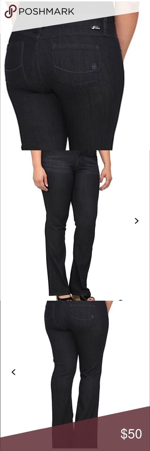 """Torrid slim bootcut virtual stretch New with tags. A skinny fit through the hip and thigh breaks into a slim boot at the knee for long, lean lines. These flattering jeans are perfect over boots (of course), but also look exquisite dressed up with pumps and a blazer. Mid-rise. Tall length. Dark rinse. Stretchy. Source of wisdom edition. 35"""" inseam torrid Jeans Boot Cut"""
