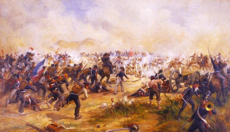 BATALLA DE MAIPÚ 1818. En la obra se representa el enfrentamiento entre las tropas de los Andes, integradas por chilenos y argentinos y al mando del General José San Martín. Pedro Subercaseaux, 1904.