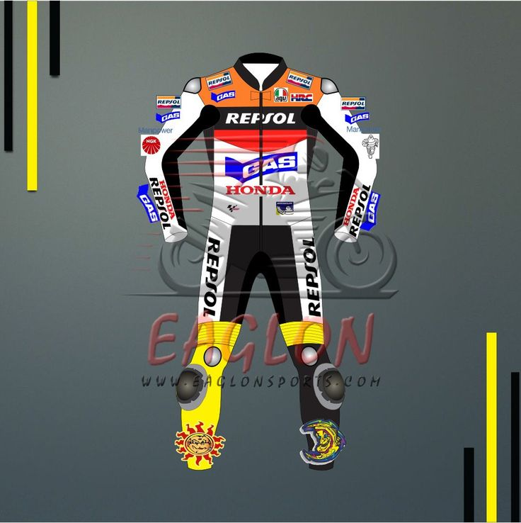 Description Valentino Rossi Honda Repsol Gas Motogp 2002 Leather Suitis designed for professional bikers to show their love toward him and HondaBike on the track. This suit is made of Cowhide leather with thickness of 1.2-1.3 mm and Schoeller Kevlar Fabric for complete safety and comfort of rider. There is certified carbon inserted external protections …