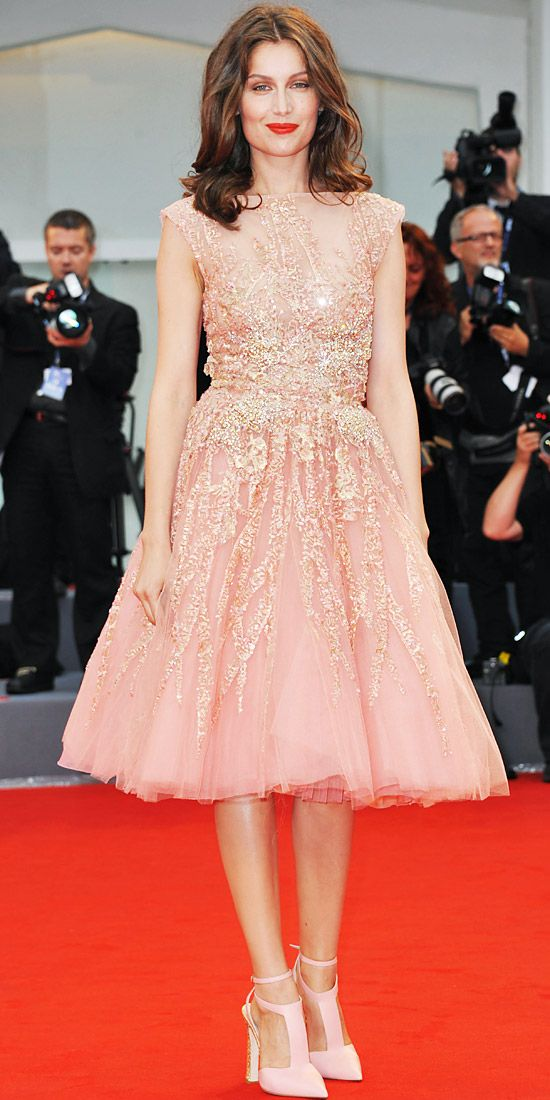 Laetitia Casta stole the spotlight at the Venice Film Festival premiere of The Master in a tulle Elie Saab Couture cocktail dress and the label's blush leather heels.