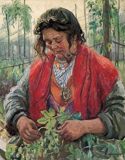 Hop-Picking Granny Knowles, an Old Hand by Laura Knight