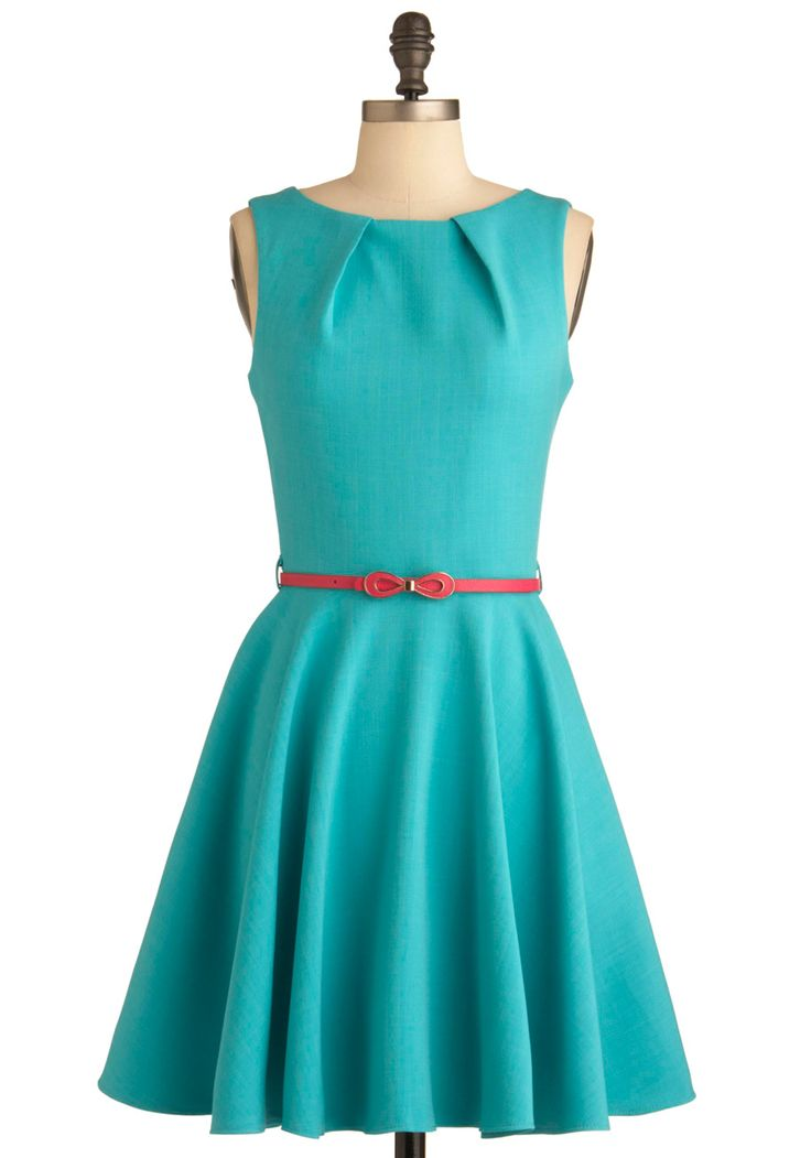 Luck Be a Lady Dress in Teal - Mid-length, Solid, Bows, Exposed zipper, Pockets, A-line, Spring, Work, Sleeveless, Green