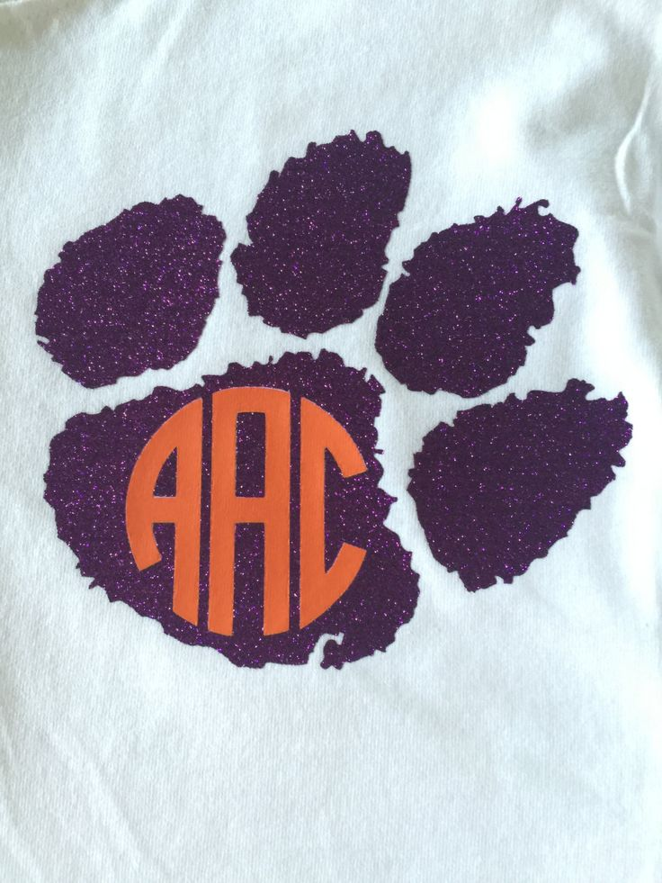 Monogram Clemson Paw T-Shirt in Purple Glitter Vinyl by AliGatorsMonograms on Etsy