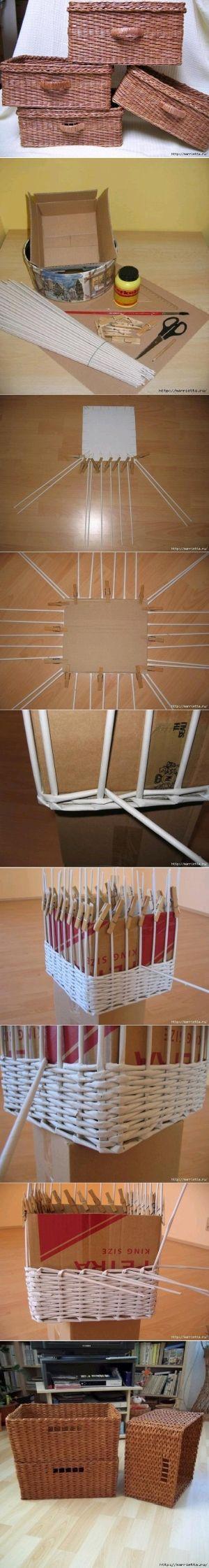 DIY Newspaper Weave Basket DIY Newspaper Weave Basket by diyforever