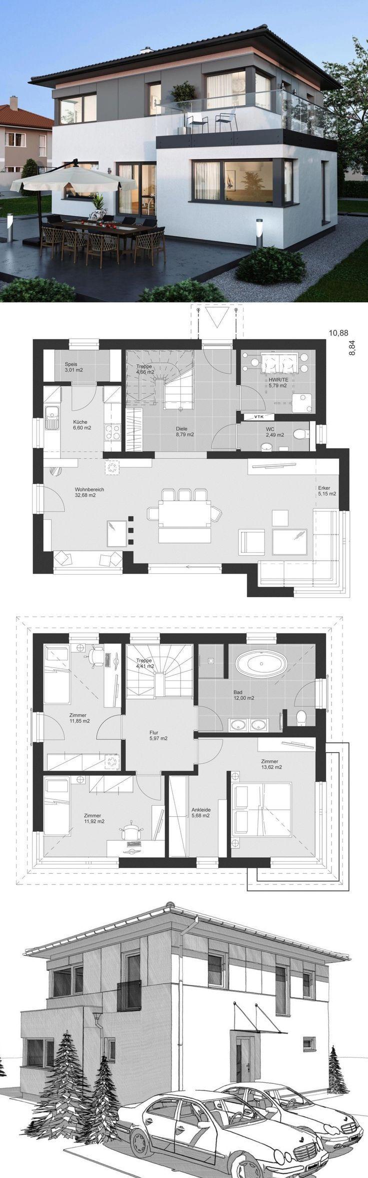 Villa moderne avec une architecture en toit en croupe, une façade en bois et 4 …