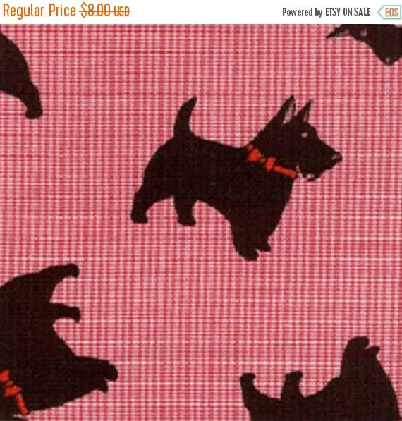 ON SALE - 15% Off Fabric Finders Red Micro Check Gingham Scottish Terrier Dog Puppy Quilting Apparel Applique Fabric By The Yard