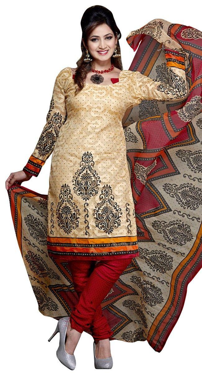 Tantalizing Cream & Red Printed #Salwar_Kameez