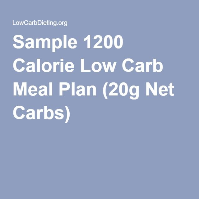 Sample 1200 Calorie Low Carb Meal Plan (20g Net Carbs)   food   Pinterest   Meals, Low carb and ...