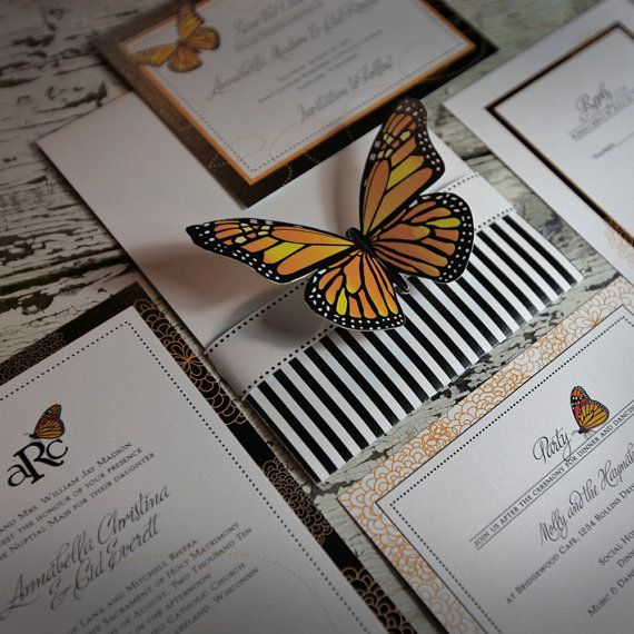 Monarch Butterfly Wedding Invitation suite by BellaBaroqueDesign, $8.00