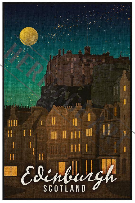 Edinburgh Scotland- Vintage Travel Poster