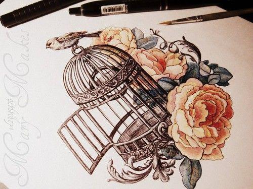 Image result for floral birdcage tattoo