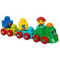 LEGO Primo or Baby. This line has been called by both names. Compatible with duplo, quatro, etc. Some of the blocks have rattles in them or mirrors on them.