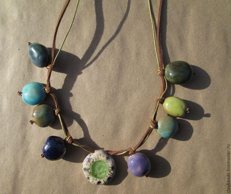 """Купить Керамическое ожерелье """"Тропические острова"""" - украшения из керамики, керамические украшения, керамические бусы"""