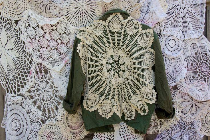 Hand Embellished Vintage Khaki Jacket by byjulesbyjo on Etsy