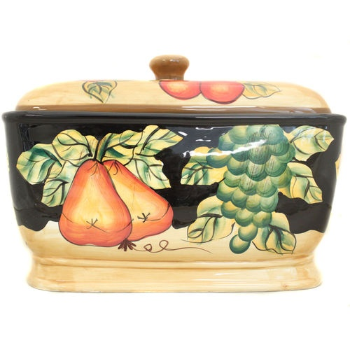 Tuscan Italian Fruit Bread Box Toast Jar Tuscany Decor New Ebay Tuscany Decor Bread Boxes Ceramic Bread Box