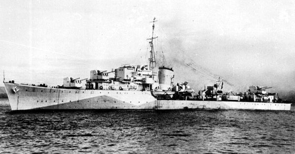 "ORP Orkan, formerly HMS Myrmidon is a M-class destroyer of the Polish Navy during World War II. The name translates as ""windstorm"". She was sunk by the German submarine U-378 on October 8, 1943 in the Barents Sea. There were 179 dead and 44 survivors. (wikipedia.image) #3A (B&W)"