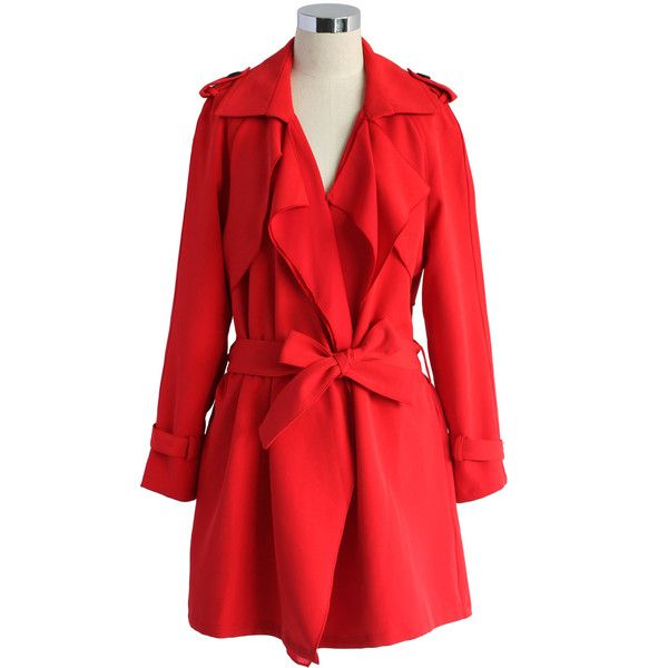Chicwish Inspirational Waterfall Trench Coat in Ruby ($70) ❤ liked on Polyvore featuring outerwear, coats, red, trench coat, drape coat, waterfall coat, waist belt and red trench coat