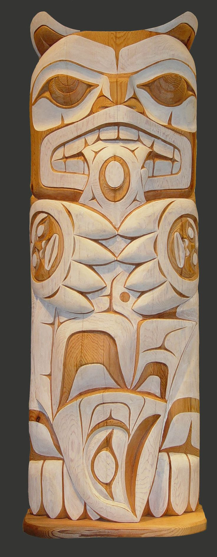 "Spirit Bear, Doug Horne, Coast Salish. Red cedar, measuring 5.5"" x 16"". First Nations Art."