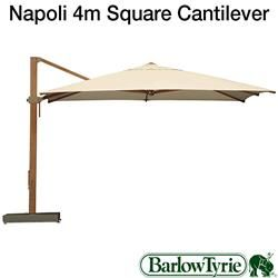 Barlow Tyrie Parasols - Napoli 4m Cantilever Square Canvas Parasol | Birstall