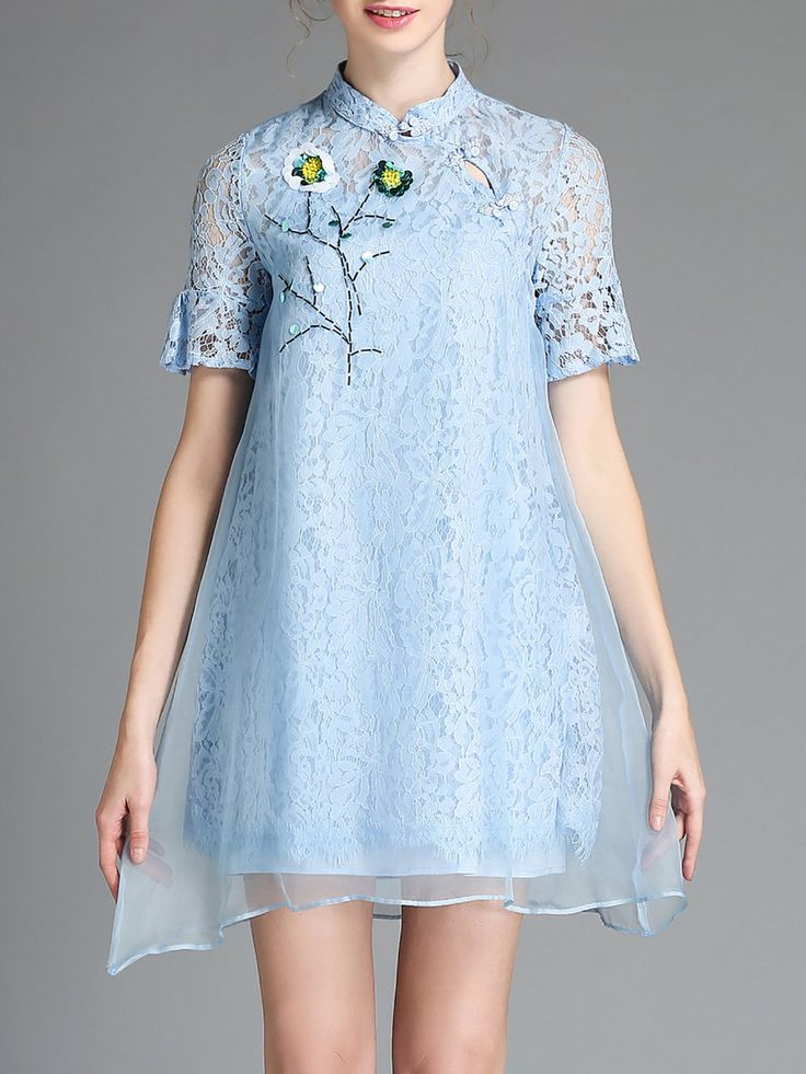 #AdoreWe AOFULI Blue Frill Sleeve Paneled Two Piece Mini Dress - AdoreWe.com