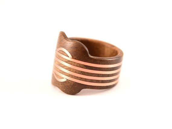 Wood ring Guitar with copper inlay by WoodenJewelryArt on Etsy