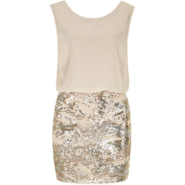 Jolie Moi Beige pattern sequin dress found on Polyvore