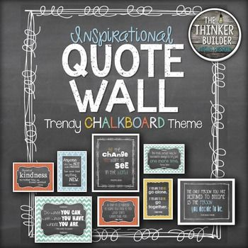"""et 10 favorite inspirational quotes, perfect for classroom decor, in coordinated, """"trendy chalkboard"""" themed designs. Each quote comes in 16 designs, including 8x10 and 5x7 sizes, horizontal and vertical format, and four coordinating MODERN colored backgrounds: sky blue, poppy red, jade green, and mustard yellow."""