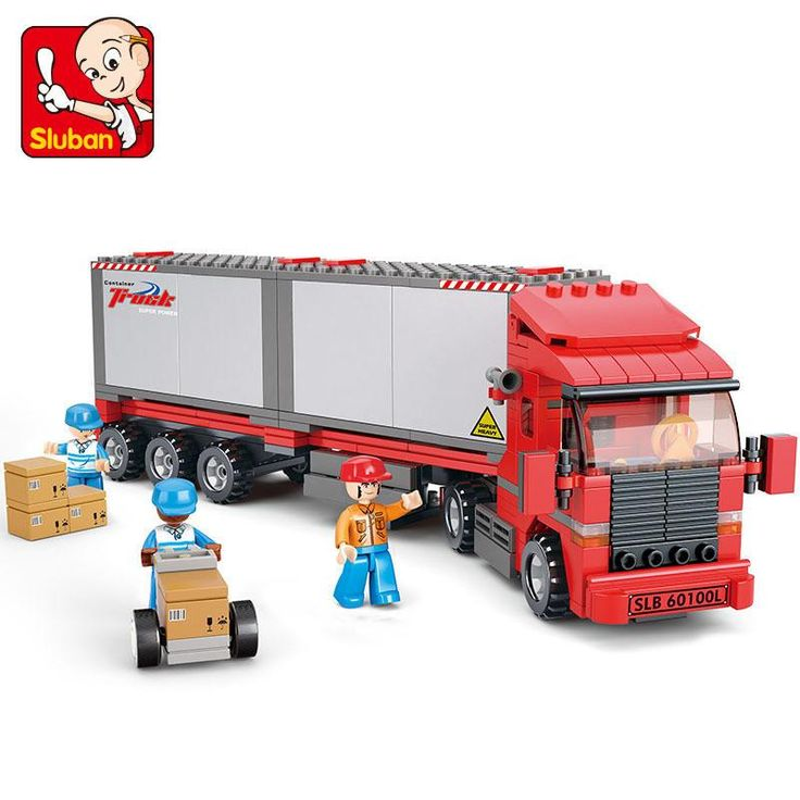 Sluban model building kits compatible with lego city truck 520 3D blocks Educational model & building toys hobbies for children
