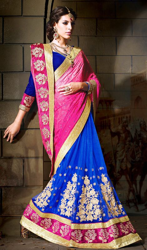 Blue and Pink Embroidered Crepe Net Half N Half Saree Price: Usa Dollar $177, British UK Pound £104, Euro130, Canada CA$189 , Indian Rs9558.