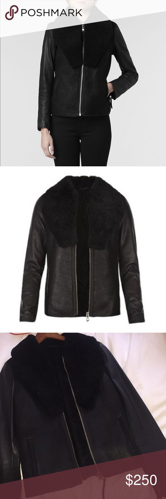 new allsaints bartlett jacket- leather & shearling gorgeous allsaints jacket with suede front and back, leather sleeves, shearling collar and fully lined with shearling. never worn. size US 4. absolutely gorgeous piece All Saints Jackets & Coats