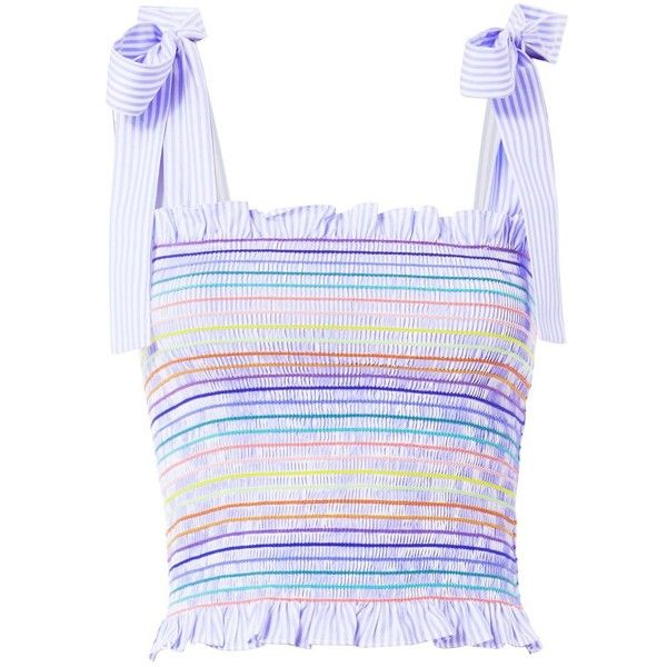 Petersyn Women's Dierdra Top (5.116.275 VND) ❤ liked on Polyvore featuring tops, stripe, stripe top, striped top, spaghetti-strap tops, blue striped top and tie top