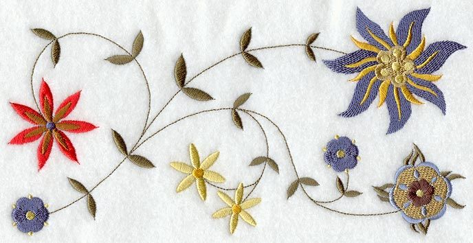 The region produces a large portion of the world's rose oil, found in many perfumes, and the importance of this beautiful flower can be seen in many other ways like stylized floral embroidery. Description from emblibrary.com. I searched for this on bing.com/images #embroidery #modern