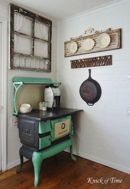 Farmhouse Kitchen Antique Cook Stove Tarnished Silverware Ironstone via KnickofTimeInteriors.blogspot.com