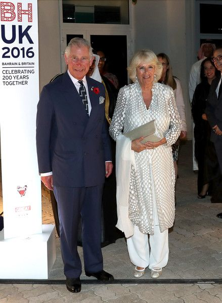Prince Charles, Prince of Wales and Camilla, Duchess of Cornwall attend a reception at the British Embassy on November 10, 2016 in Manama, Bahrain.