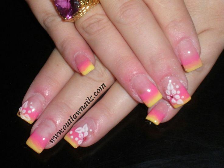 Neon & flower nail art