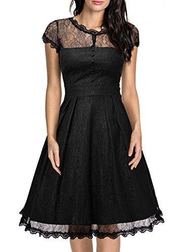 Miusol® Women's Retro Floral Lace Cap Sleeve Vintage Swing Bridesmaid Dress